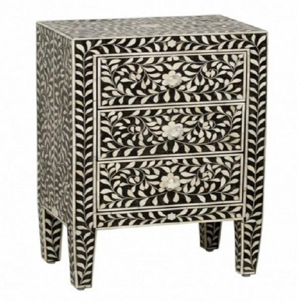 Handmade Bone Inlay Wooden Modern Floral Pattern 3 Drawer Bedside Furniture.
