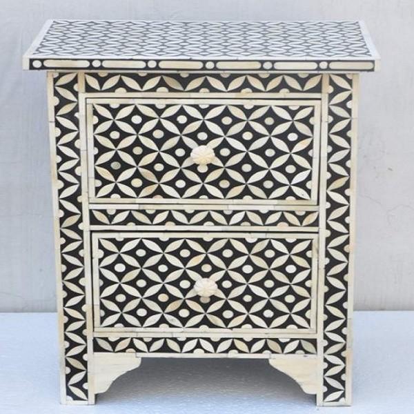 Handmade Bone Inlay Bedside Furniture