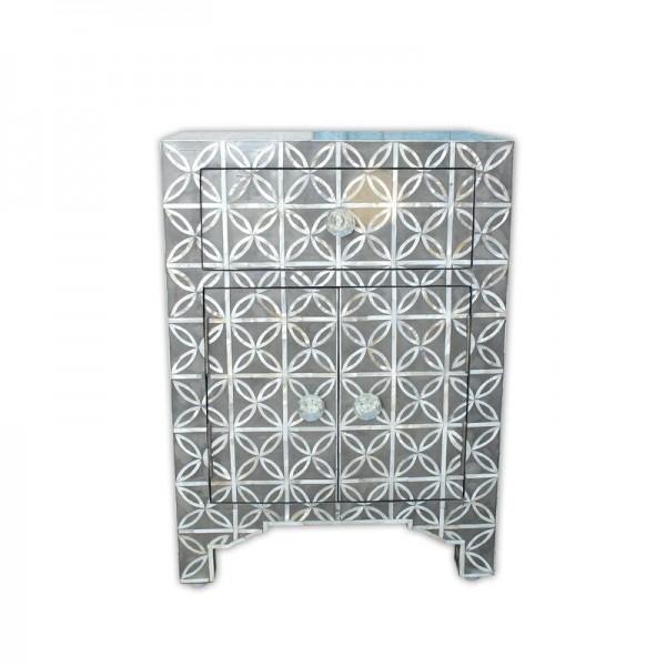 Handmade Bone Inlay Wooden Modern Geometric Eye Pattern with 2 Door and 1 Drawer Bedside Furniture.
