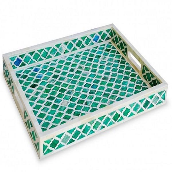Handmade Bone Inlay Wooden Modern Mughal Pattern Tray Furniture.