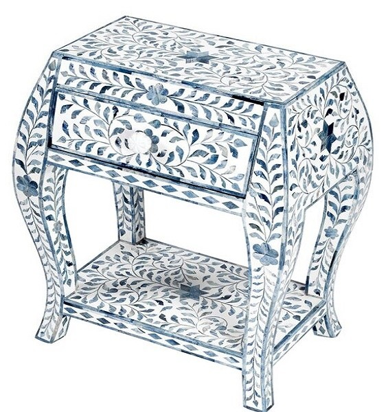 Handmade Bone Inlay Wooden Modern Floral Pattern Bedside with 1 Drawer Furniture.