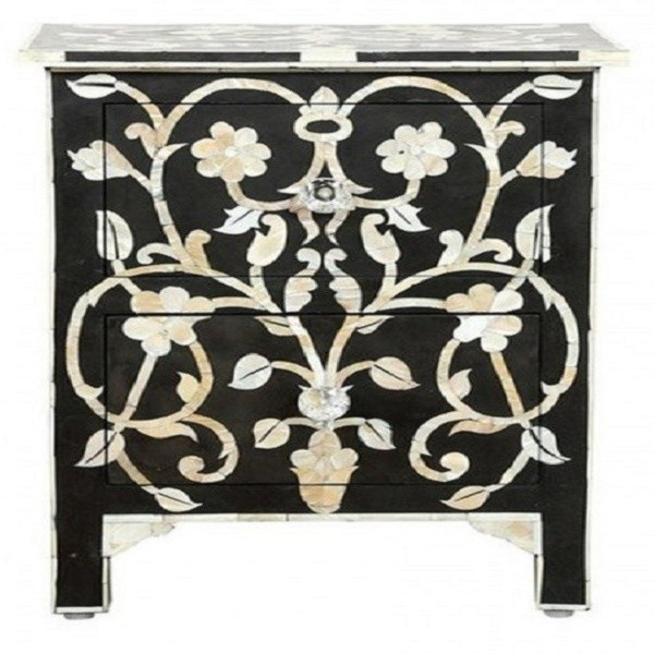 Handmade Mother of Pearl Inlay Wooden Modern Floral Pattern 2 Drawer Bedside Furniture.