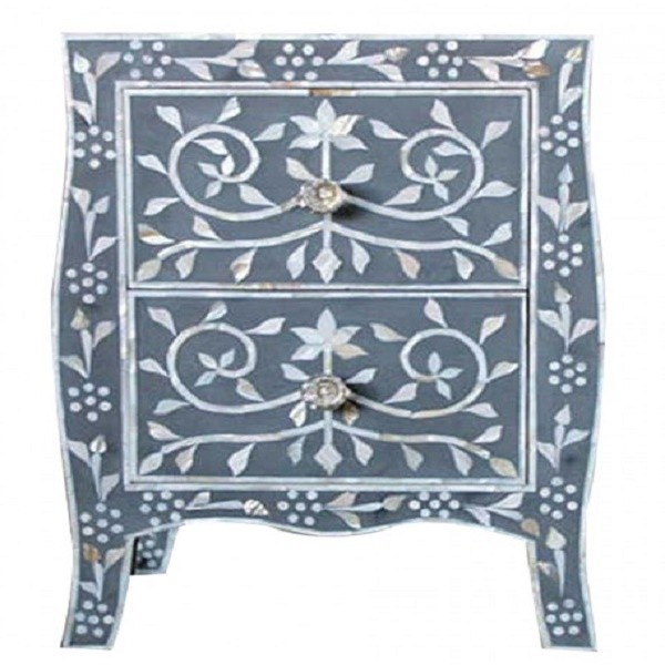 Handmade Mother of Pearl Inlay Wooden Modern Floral Pattern with 2 Drawer Bedside Furniture.