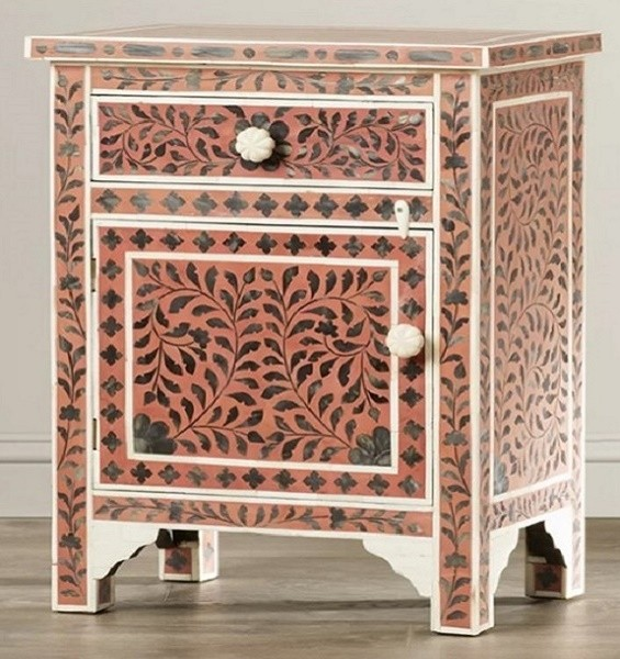 Handmade Mother of Pearl Inlay Wooden Modern Floral Pattern 1 Drawer and 1 Door Bedside Furniture