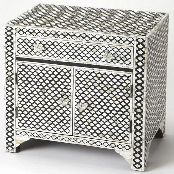 Handmade Mother of Pearl Inlay Wooden Modern Mughal Pattern 1 Drawer and 2 Door Bedside Furniture