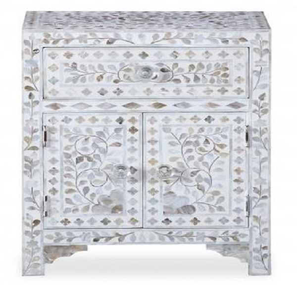 Handmade Mother of Pearl Inlay Wooden Modern Floral Pattern 1 Drawer and 2 Door Bedside Furniture