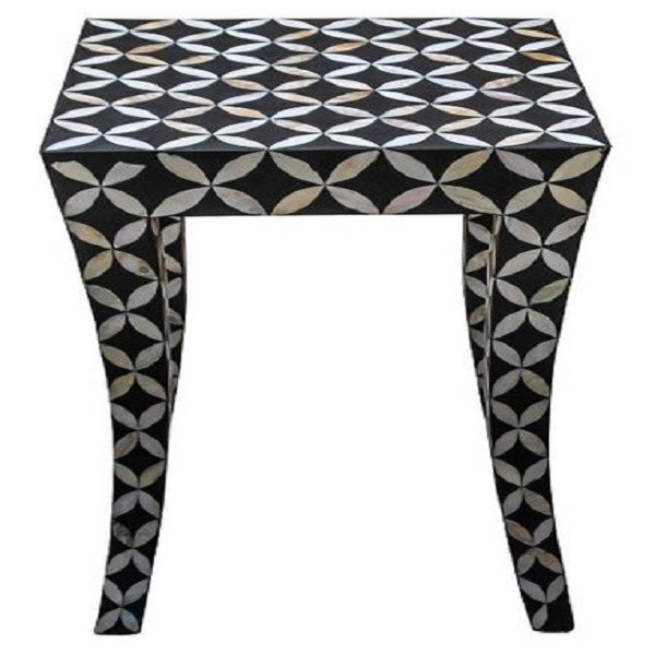 Handmade Mother Of Pearl Inlay Wooden Modern Geometric Eye Pattern End Table Furniture.