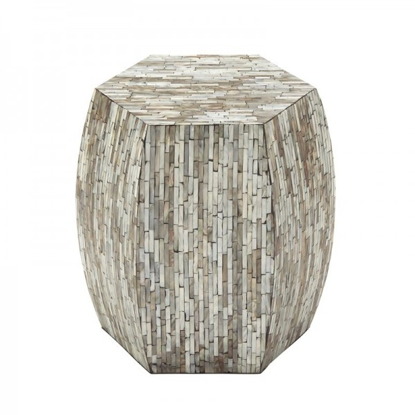 Handmade Mother Of Pearl Inlay Wooden Modern Striped Pattern End Table Furniture