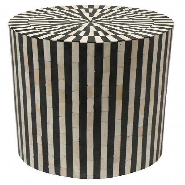 Handmade Bone Inlay Wooden Modern Striped Pattern End Table Furniture.