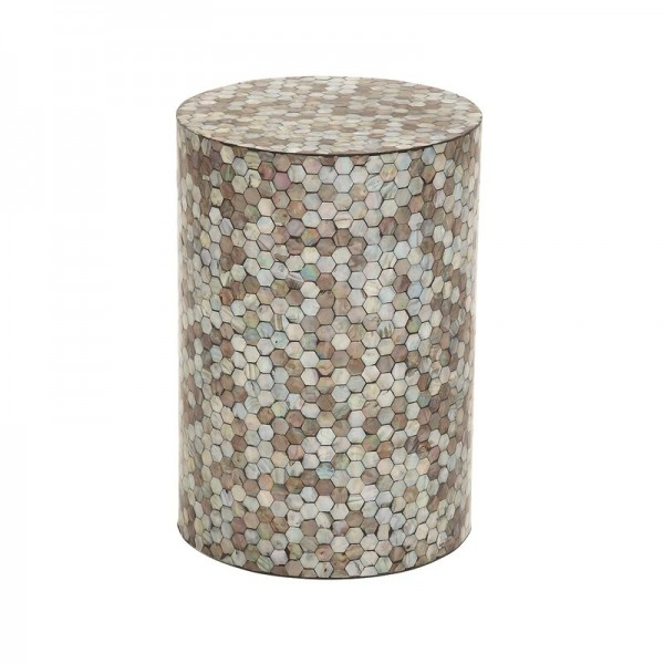 Handmade Mother Of Pearl Inlay Wooden Modern Hexagon Pattern End Table Furniture