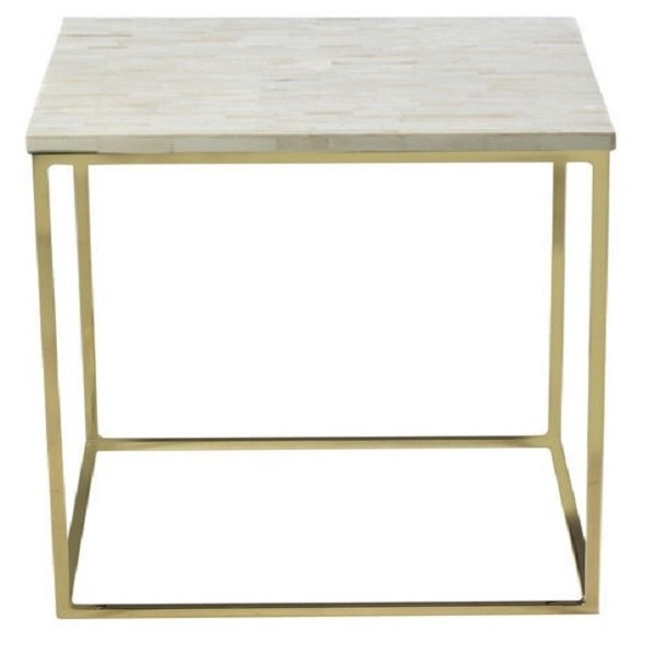 Handmade Bone Inlay Wooden Striped Pattern End Table Furniture.