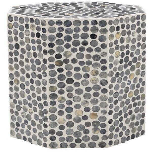 Handmade Bone Inlay Wooden Modern Dotted Pattern End Table Furniture.