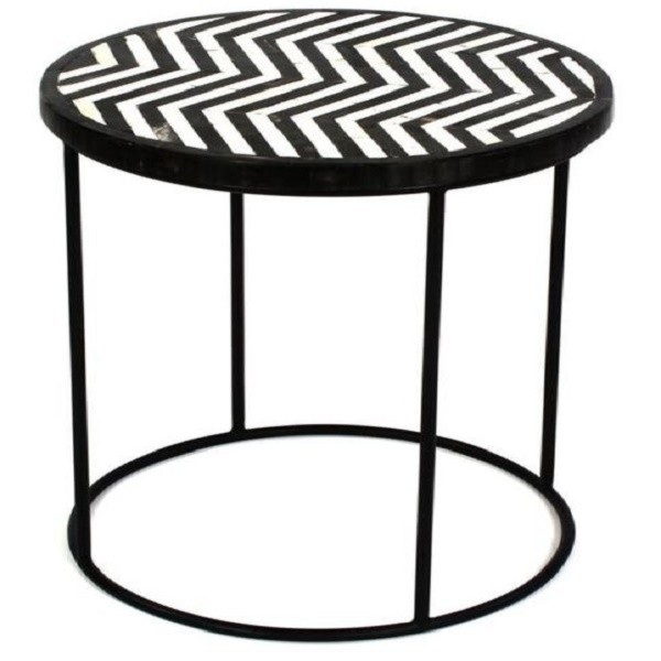 Handmade Bone Inlay Wooden Modern Zig-Zag Pattern End Table Furniture.