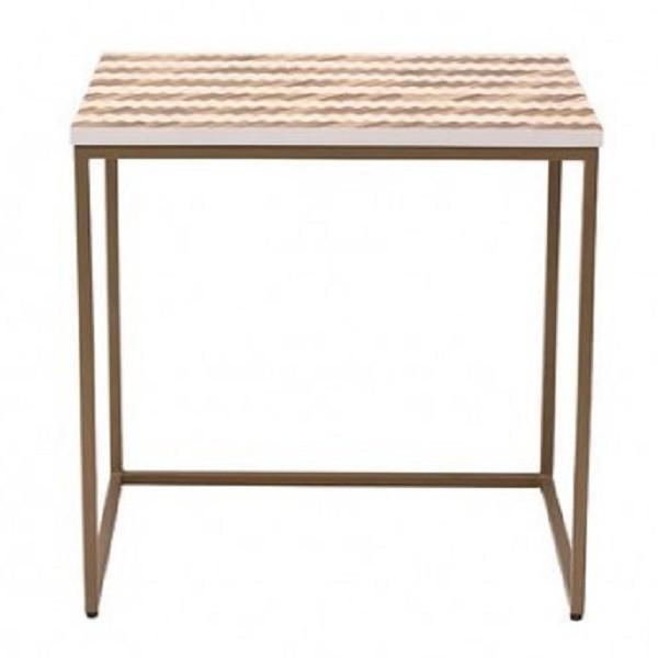 Handmade Bone Inlay Wooden Modern Teak Wood Pattern End Table Furniture.