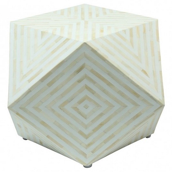 Handmade Bone Inlay Wooden Modern Square Pattern End Table Furniture.