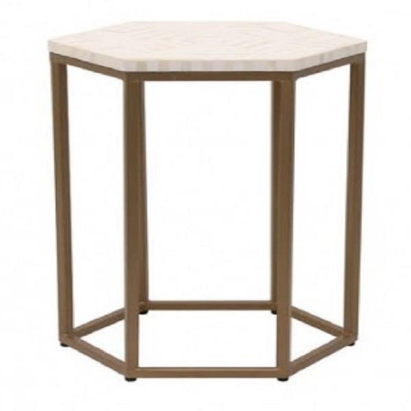 Handmade Bone Inlay Wooden Modern Hexagon Pattern End Table Furniture.