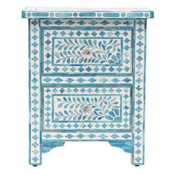 Handmade Bone Inlay Wooden Modern Floral Pattern 2 Drawer Bedside Furniture