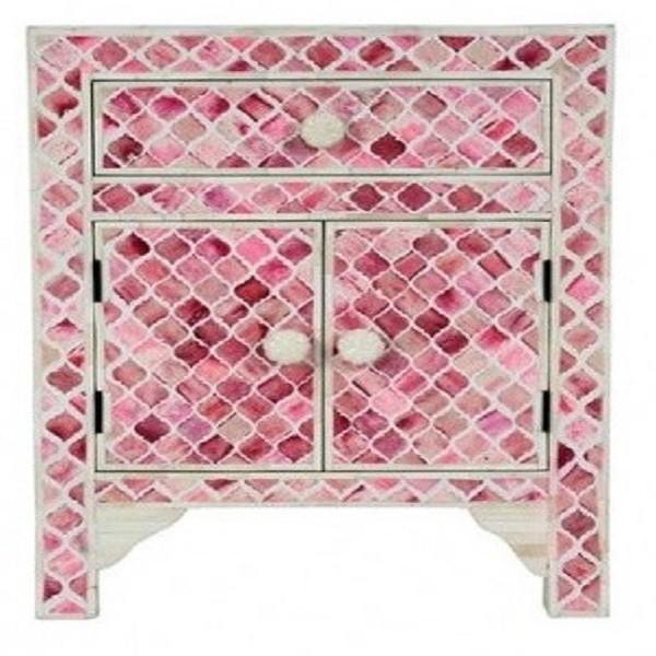 Handmade Bone Inlay Wooden Modern Mughal Pattern  1 Drawer and 2 Door  Bedside Furniture