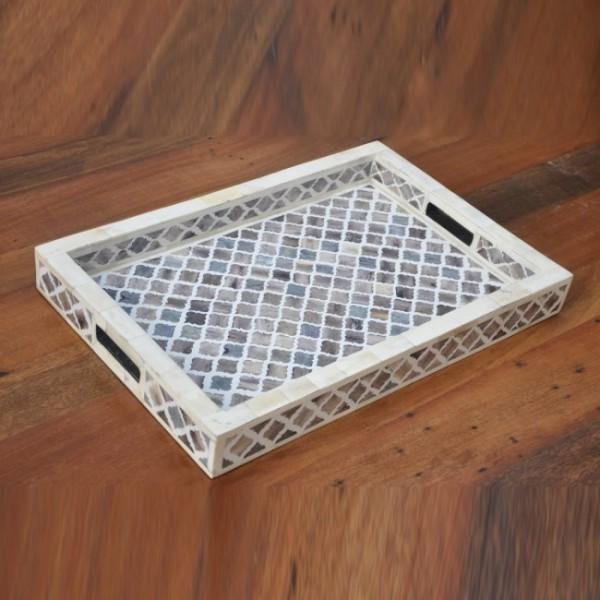 Bone Inlay Wooden Modern  Handmade  Tray Kitchen Serving