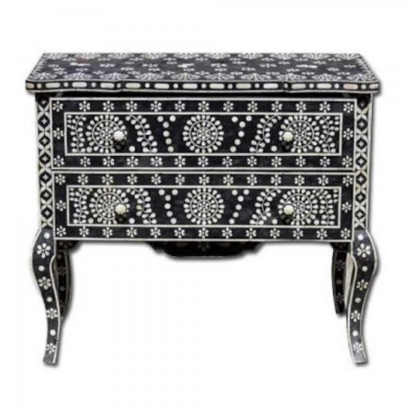 Handmade Bone Inlay Wooden Modern Floral Pattern Sideboard with 2 Drawer Furniture .