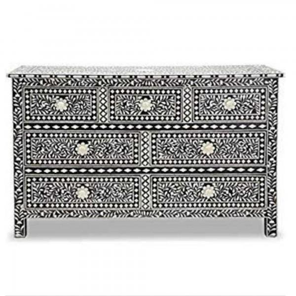 Handmade Bone Inlay Wooden Modern Floral Pattern Sideboard with 7 Drawer Furniture .