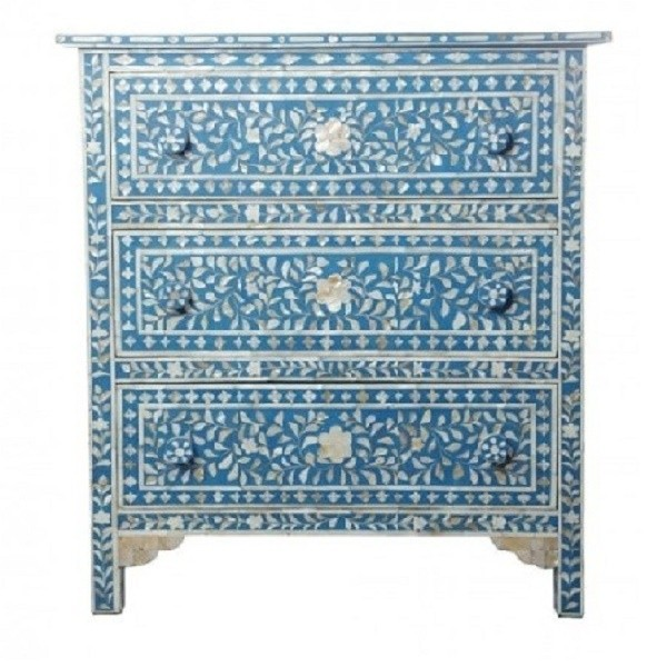 Handmade Bone Inlay MOP Wooden Modern Floral Pattern Bedside with 3 Drawer Furniture.