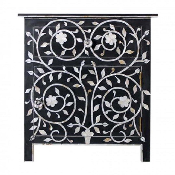 Handmade Mother of Pearl Inlay Wooden Modern Floral Pattern 1 Drawer and 1 Door Bedside Furniture.