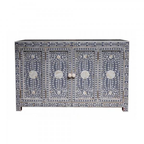 Handmade Bone Inlay Wooden Modern Floral Pattern Sideboard with 2 Door Furniture .