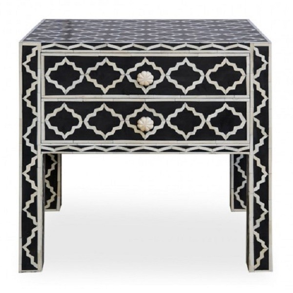 Handmade Bone Inlay Wooden Modern Pattern Bedside with 2 Drawer Furniture .