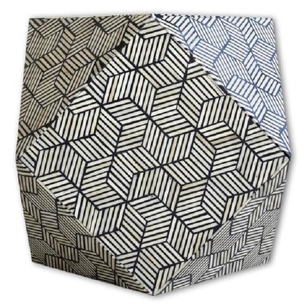 Handmade Bone Inlay Wooden Modern Striped Pattern End Table Furniture