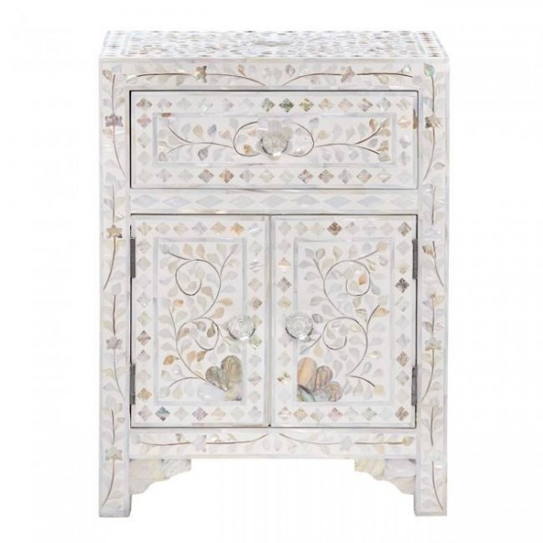 Handmade Mother of Pearl Inlay Wooden Modern Floral Pattern with 1 Drawer and 2 Door Bedside Furniture.