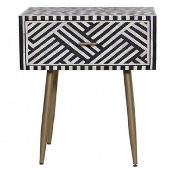 Handmade Bone Inlay Wooden Modern Striped Pattern 1 Drawer Bedside Furniture
