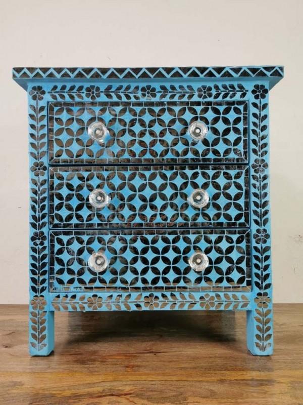 Handmade Bone Inlay MOP Wooden Modern Geometric Eye Pattern Bedside with 3 Drawer Furniture.