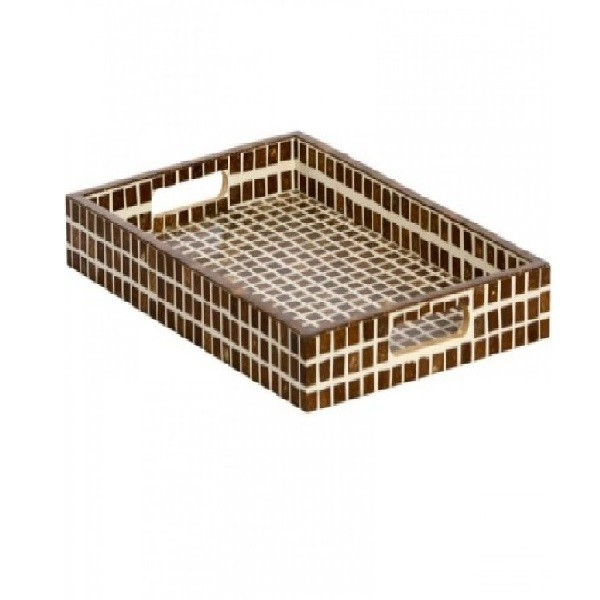 Handmade Bone Inlay Wooden Modern Pattern Tray Furniture.