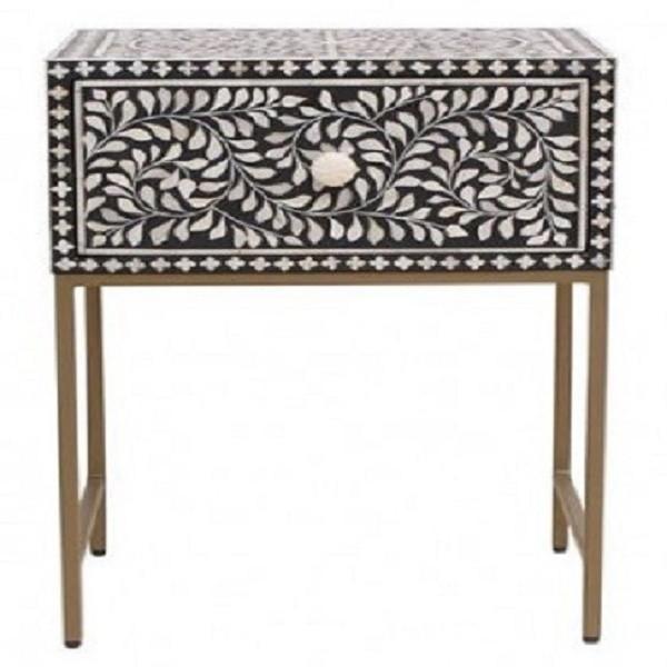 Handmade Bone Inlay Floral Pattern Wooden Modern 1 Drawer End Table Furniture