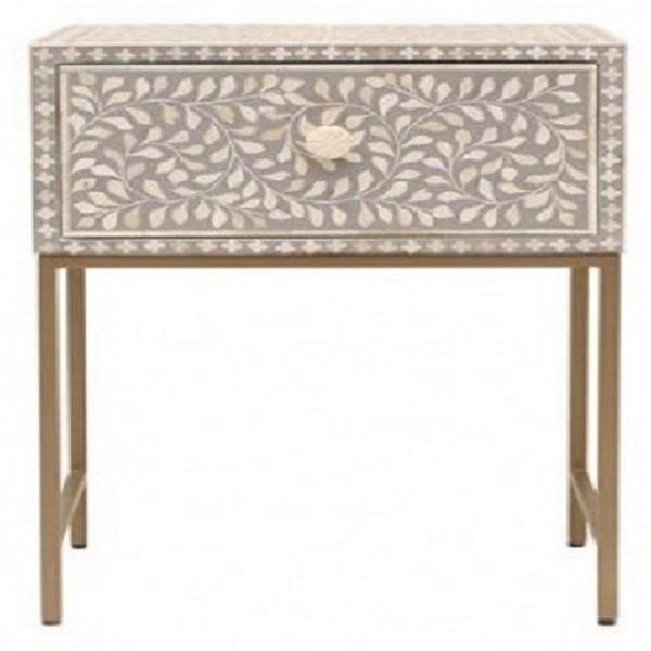 Handmade Bone Inlay  Wooden Modern Floral Pattern 1 Drawer End Table Furniture
