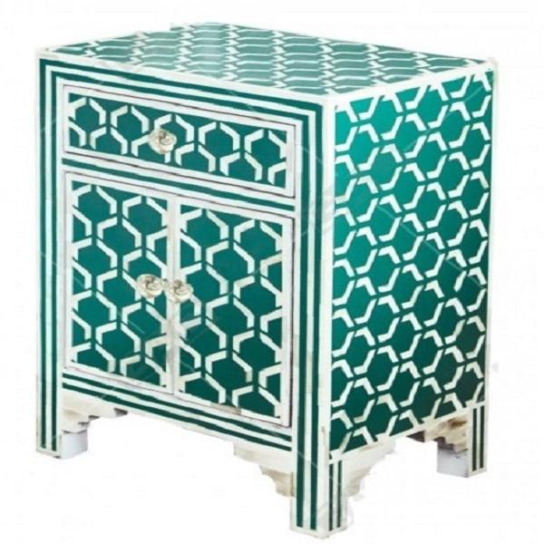 Handmade Bone Inlay Wooden Modern Hexagon Pattern Bedside with 1 Drawer and 2 Door Furniture.
