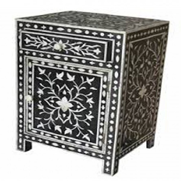 Bone Inlay Bedside Home Decor Modern Design Attractive Look Beautifully Crafted nightstand / end table 1 Drawer and 1 Door Furniture.