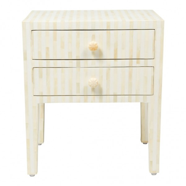 Handmade Bone Inlay Striped Pattern 2 Drawer Wooden Bedside Furniture