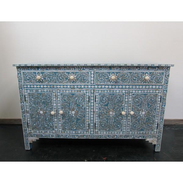 Handmade MOP Inlay Wooden Modern Floral Pattern Sideboard Furniture