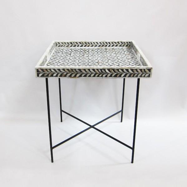 Handmade Bone Inlay Wooden Modern Geometric Pattern Tray Furniture.
