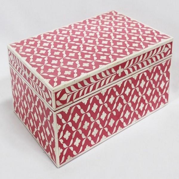 Handmade Bone Inlay Wooden Modern Geometric Pattern Jewelry Box Furniture