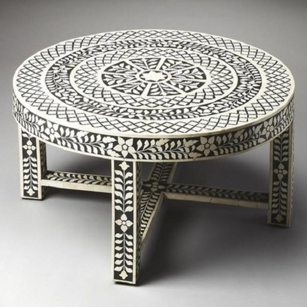 Handmade Bone Inlay Wooden Modern Floral Pattern Coffee Table Furniture.
