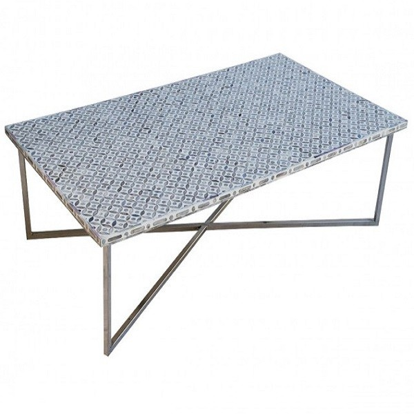 Handmade Bone Inlay Wooden Modern Geometric Pattern Coffee Table Furniture with Iron legs