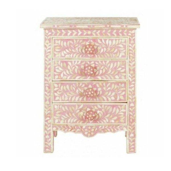 Handmade Bone Inlay Wooden Modern Floral Pattern 4 Drawer  Bedside Furniture