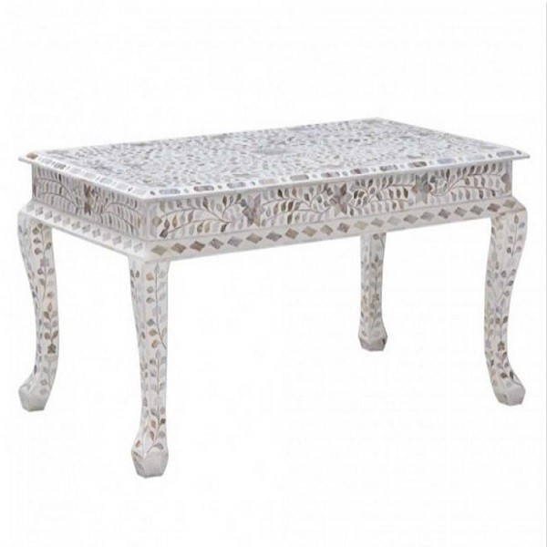 Handmade MOP Inlay Wooden Modern Floral Pattern Coffee Table