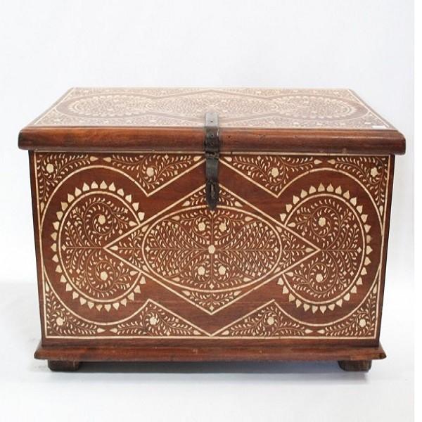Handmade Bone Inlay Wooden Modern Floral Pattern Coffee Table Furniture