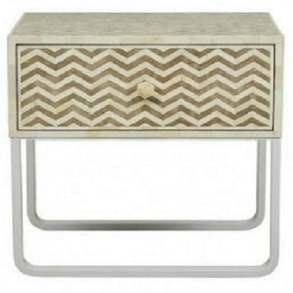 Handmade Bone Inlay  zig zag Wooden Modern 1 Drawer Bedside Furniture
