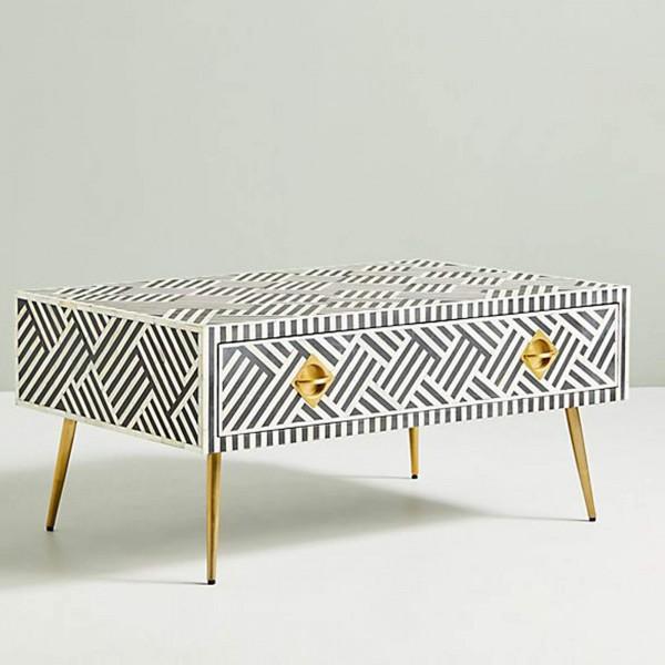 Handmade Bone Inlay Wooden Modern Striped Pattern Coffee Table Furniture