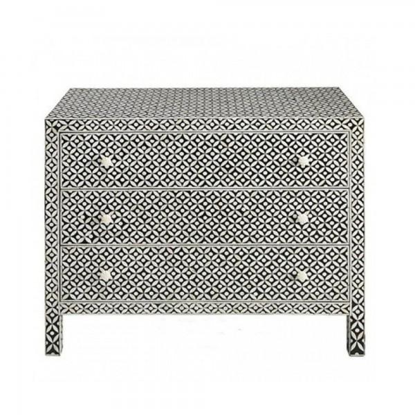 Handmade Bone Inlay Wooden Modern Geometric Eye Pattern Sideboard with 3 Drawer Furniture .